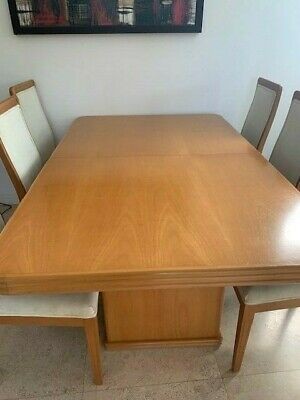 AU150 • Buy Beech Wood Extendable Dining Table 8 Chairs. Has Matching Buffet NEGOTIABLE