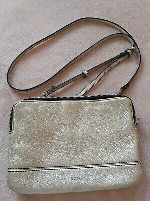 AU35.50 • Buy OROTON Leather Silver Crossbody Bag With Black Stitching, 2 Zip Sections