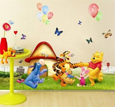 £5.77 • Buy Winnie The Pooh Tiger Butterfly Balloon Wall Stickers Kids Room Bedroom Decals