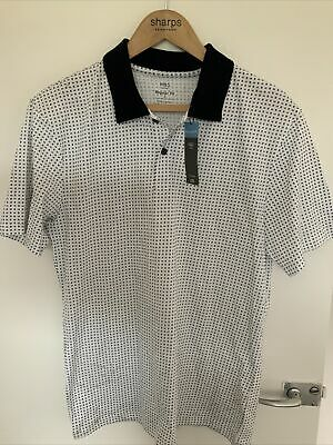 £5 • Buy New Mens Marks And Spencer Pure Cotton Geometric Print Polo Shirt Size Small