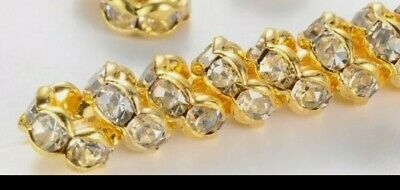 £1.99 • Buy 150 + Pcs Gold Plated Crystal Rhinestone Wavy Rondelle Spacer Beads Size 6mm