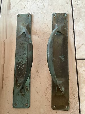£39 • Buy Large Old Pair Of Solid Brass Door Pull Handles Shop / Bar / Pub Commercial