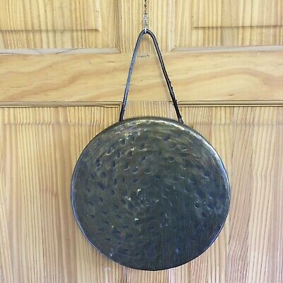 £30 • Buy Brass Dinner Gong + Leather Rope Handle 10 /25cm X 1.5 /4cm Probably Antique Era