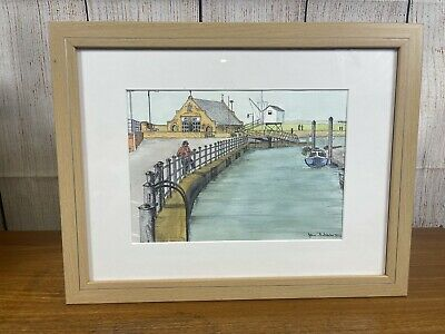 £24.99 • Buy Norfolk Water Colour Wells Harbour Signed By John Batchelor 2012