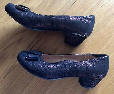 £5.99 • Buy Hotter Shoes Size 5 , Black Lace Effect With Bronze, Hardly Worn (Lot536)