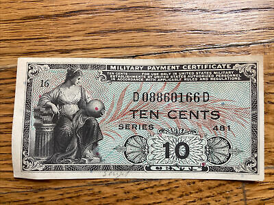 $5 • Buy 10 Cents Military Payment Certificate Series 481