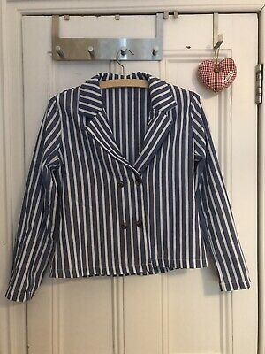 £10 • Buy Blue And White Striped Linen Style Suit Jacket And Trousers