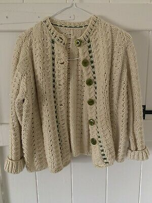 £17.95 • Buy Vintage Hand Made Knitted Cream Green Aran Cable Wool Cardigan, Approx Size S