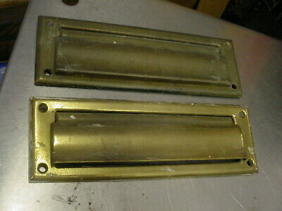 $29.99 • Buy (Lot Of 2) Vintage IVES Brass Letter Box Plate Mail Slots