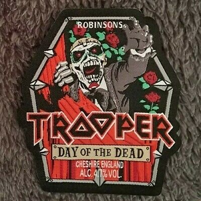 £5 • Buy Iron Maiden TROOPER BEER DAY Of The DEAD PATCH. Cut Shape Bottle Label HQ NEW