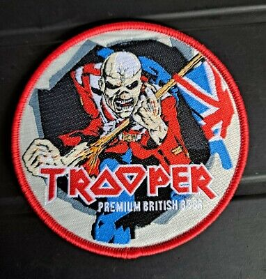 £5 • Buy Iron Maiden PATCH Trooper Beer Original Logo. Red Border Circle Woven Sew On NEW
