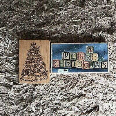 £2.99 • Buy Large Wooden Stamps X2 - Christmas Greeting-beautifully Decorative-used Once
