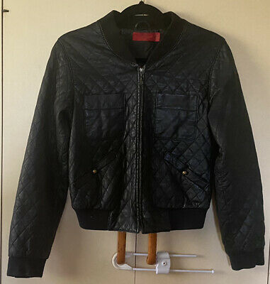 AU60 • Buy Rare Tigerlily Black 100% Genuine Quilted Leather Bomber Jacket - Size 8