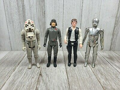 $ CDN4.09 • Buy Vintage Star Wars Figures Lot Small Head Han Solo AT-AT Driver Death Star Droid