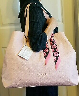 $ CDN75.93 • Buy Kate Spade New York Pink Extra Large Tote Bag Carryall Shopping Accent Scarf NWT