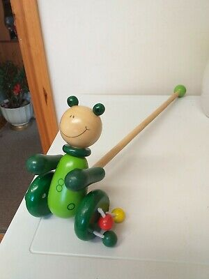 £3.95 • Buy Classic Toy...wooden Push Along...colourful..frog...wood...push Along...toy