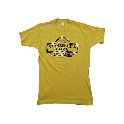 $ CDN30.20 • Buy Vintage 70s Godfather's Pizza Yellow Distressed T Shirt Mens Size Small