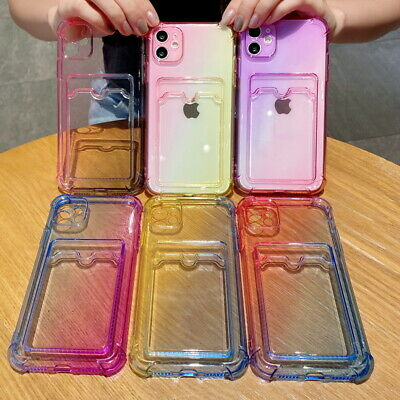 AU5.68 • Buy Gradient Card Slot Clear Soft Case For IPhone 12 Pro Max 11 XS XR 7 8 Plus Cover