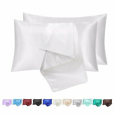 AU9.99 • Buy 2 Pack Satin Silky Pillow Cases Queen Size Solid Standard Pillow Cover 2021 New