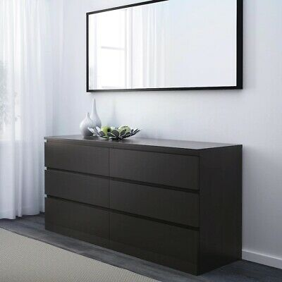 AU159 • Buy Ikea MALM Chest Of 6 Drawers Black-Brown 160x78 Cm AS NEW