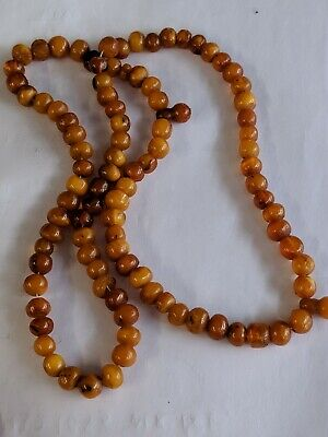 £29.99 • Buy Antique  Natural Butterscotch Amber Marble Bead Necklace Small Beads