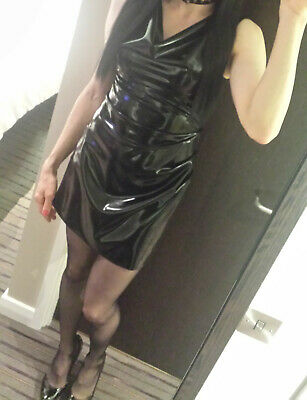 £149.99 • Buy Black Latex - Ruched Style Cowl Neck Mini Dress - Suitable For 10/12 (OOAK)