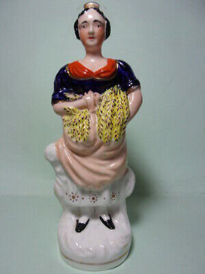 £11.85 • Buy Antique Staffordshire Pottery Figure, Young Woman With Wheat.