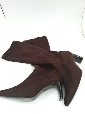 £4.99 • Buy Unbranded, Brown, Suede Feel, Pull On Heel Boots, Square Toe, GA2785, #HS