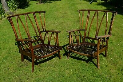 £80 • Buy Pair Of Retro Windsor Style Armchairs C. Mid 20th Century - Similar To Ercol
