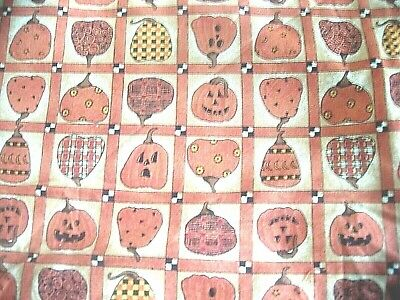 £5.05 • Buy    Halloween  Pumpkin Squares   Sew Craft Fabric 2 7/8 Yards  20 In Wide