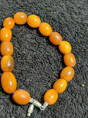 £13.50 • Buy ANTIQUE EGG YOLK BUTTERSCOTCH GRADUATED AMBER BEAD NECKLACE 10g