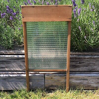 £34.99 • Buy Vintage Antique Washboard Wooden Frame Heavy Textured Glass Laundry Skiffle Item