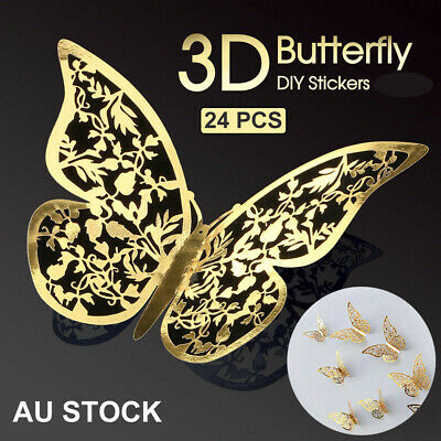 AU6.99 • Buy 24PK 3D DIY Wall Decal Stickers Butterfly Home Room Art NEW Decor Decorations