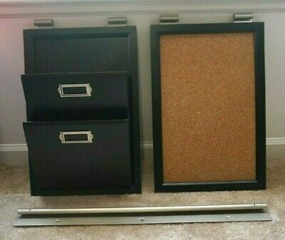 $65 • Buy Pottery Barn Daily System Black Cork Board And Letter Bin 3 Piece