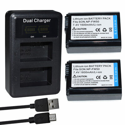 £16.91 • Buy 2X NP-FW50 Battery +LCD Dual Charger For Sony Alpha A6000 A6300 A6500 A7r A7 A77