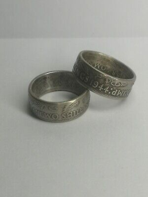 $27.79 • Buy Half Silver Coin Chunky Mens/ Unisex Ring Size R.5 From 1944 Two Shilling