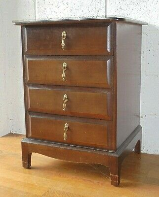 £50 • Buy Vintage Mahogany Stag Minstrel Chest Of Drawers 4 Drawer Bedside