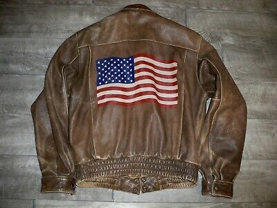 $101.99 • Buy Wilsons American Flag Distressed Leather Car Coat Riding Bomber Men's Size Small