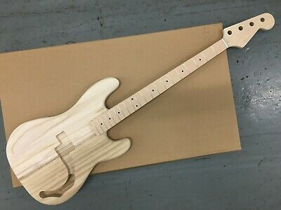 £100 • Buy P Electric Bass Kit Paulownia Wood Body Maple With Maple FB Neck, 42mm Nut, P14