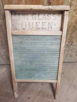 £35 • Buy Vintage Wooden Pine And Textured Glass Wash Board Decoraters Piece