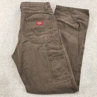 $19.97 • Buy Dickies Distressed Duck Canvas Work Wear Carpenter Jeans Pants Brown Size 30x32