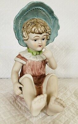 £35 • Buy Large German Huebach Bisque Piano Baby Figure With Blue Bonnet