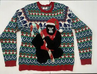 $5 • Buy Ugly Christmas Sweater With Gorilla Men's Sz L