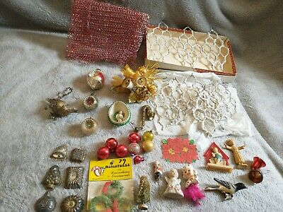 $5 • Buy Vint Xmas Lot Indented Mercury Glass Ornaments Metal Candy Molds Bottle Brush ,+