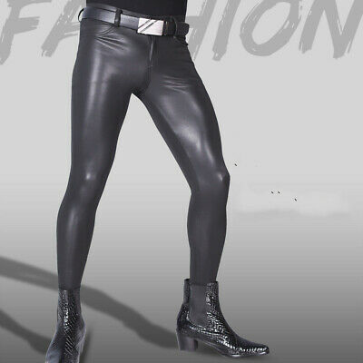 $32.99 • Buy Mens Faux Leather Pants High Elastic Skinny Slim Fit Footed Tights Trousers