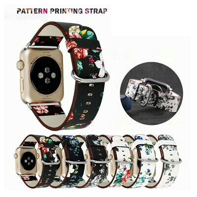 $ CDN5.18 • Buy For Apple Watch Band Series SE 6 5 4 3 2 Floral Leather IWatch Strap Wristband