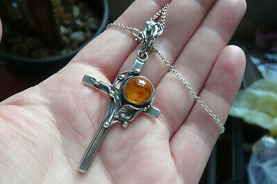 £0.99 • Buy Art Nouveau Style Amber And Polish Silver Cross With Silver Chain