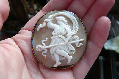 £11.30 • Buy Victorian Carved Dancing Woman Shell Cameo And Gilt Metal Brooch