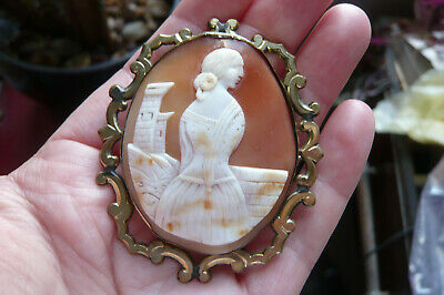 £6.50 • Buy Victorian Carved Tricolour Shell Cameo And Gold Gilt Metal Brooch