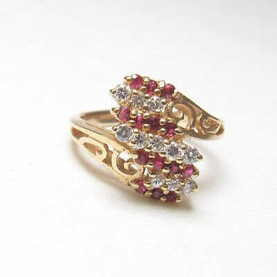 £71.95 • Buy Estate 14K Yellow Gold Natural Round Wine Red Ruby And Diamond Ring 0.45 Cts